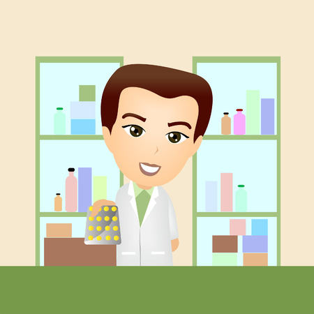 pharmacist: Illustration of a Pharmacist Handing over Tablets