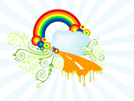 Rainbow and Vines Vector