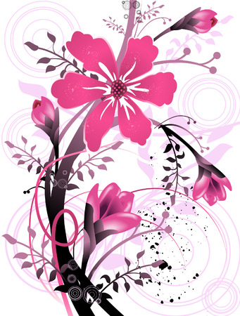 flower clip art: Floral Grunge Design (8 of 10) Illustration