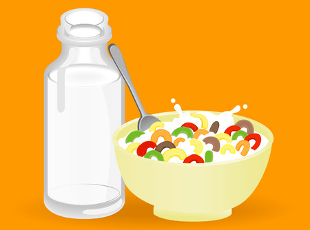 Milk and Cereal Isolated on Orange Stock Vector - 3022787