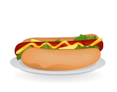 sandwiches: Hotdog Sandwich Illustration