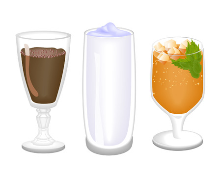 milk tea: Summer Drinks Illustration