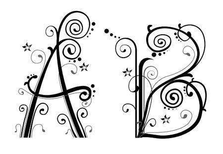 fonts vector: Vines Alphabet  Illustration