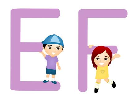kid vector: Serie ni�os Alfabeto