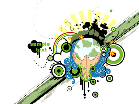 erde h�nde: Save the Earth-Design Illustration