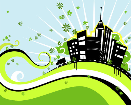 Urban Design in Green and Black Vector