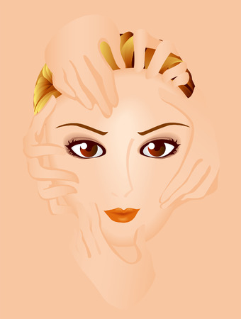 Spa - Face of a Girl and Hands Vector