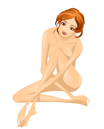 ni�a desnuda: Mujer - Chica Desnudo Ilustraci�n Vectores