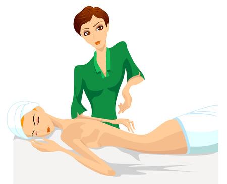 massage therapie: Massagetherapie Stock Illustratie
