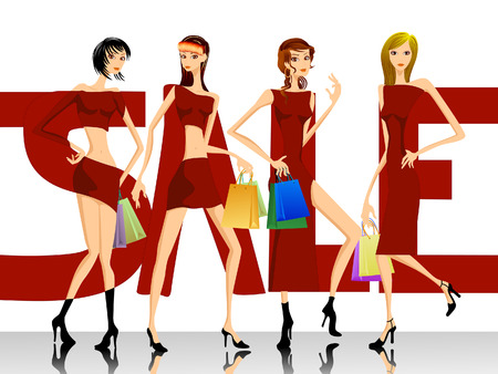 SALE Design - Girls and Shopping Bags Stock Vector - 3097648