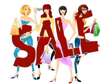 femme dessin: Vente Design - Girls Posing avec Shopping Bags