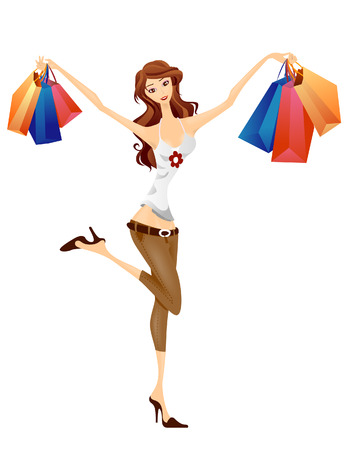 Girl Shopping Stock Vector - 3097633