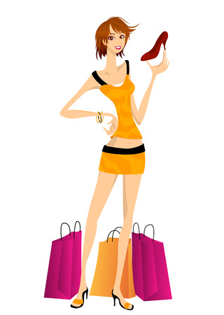 Girl Shopping for Shoes Vector