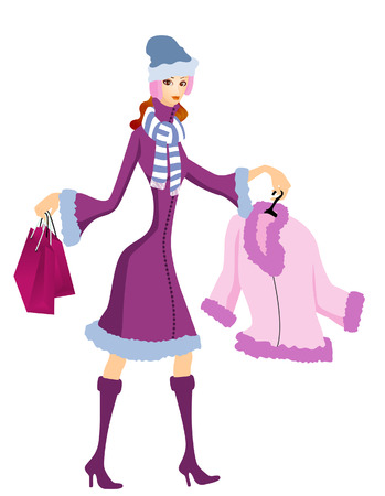 Winter Shopping Stock Vector - 3097636