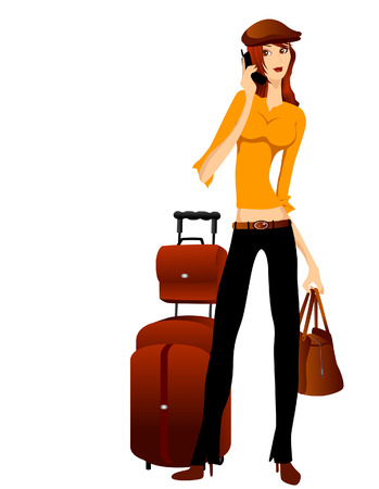 Woman with Luggage using Cellphone  Vector