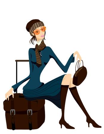 Frau mit Gepäck warten