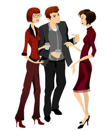 kollegen: Gruppe von Menschen sprechen Illustration