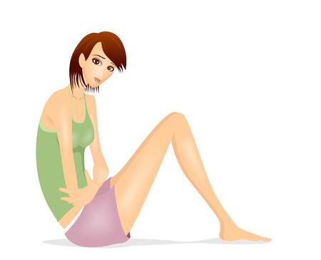dolor de estomago: Chica herir (dolor de est�mago, dispepsia, PMS), etc