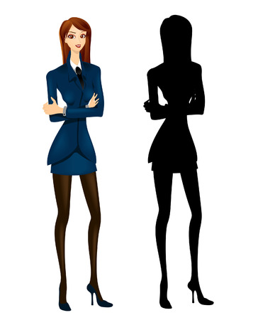 crossed arms: Office Girl Illustration