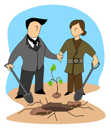 tree planting: Business Concepts: Tree Planting Illustration
