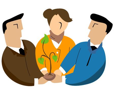 baum pflanzen: Business-Konzepte: Das Einpflanzen von Illustration