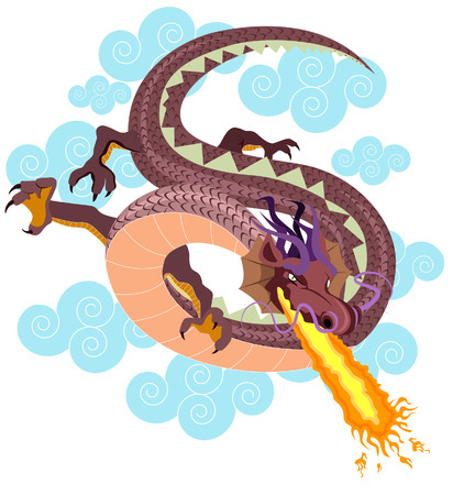 Dragon Illustration with Clipping Path
