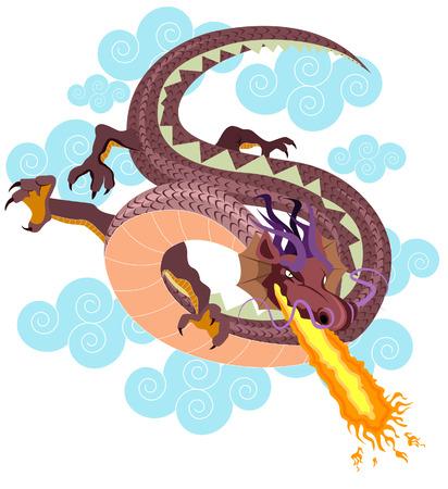 Dragon Ilustración con la saturación camino