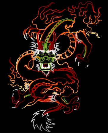 Illustration of a Dragon (neon glow)
