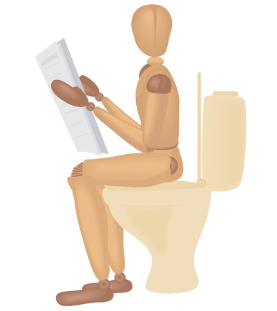morning rituals: Toilet Dummy with Clipping Path Illustration