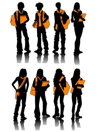 colleges: Estudiantes con siluetas de limitaci�n de ruta  Vectores