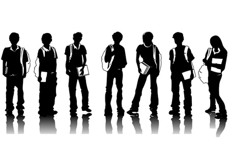 students studying: Student Silhouettes with Clipping Path