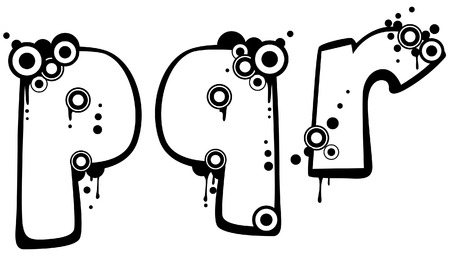 Grunge Font with Clipping Path Vector