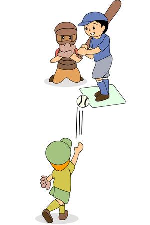 sports glove: Kids playing Baseball Illustration