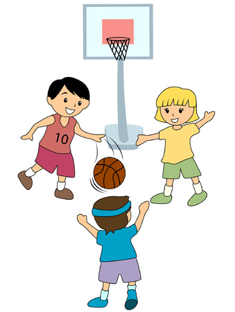 child sport: Kids playing Basketball