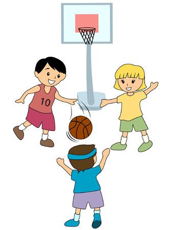 buiten sporten: Kinderen spelen Basketball