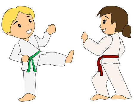 Children learning Taekwondo  Illustration