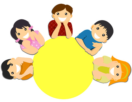 meeting table: Children around the table  Illustration