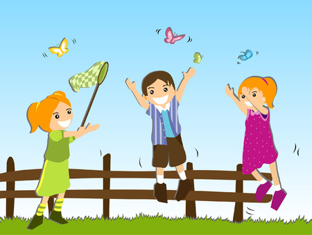 Illustration of Children chasing Butterflies