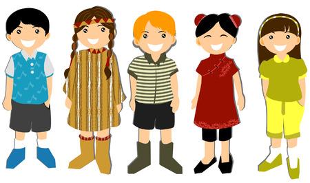 around the world: Illustration of Children  Illustration