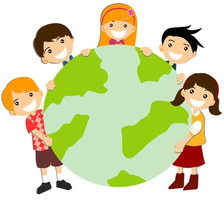 around: Children holding Globe  Illustration