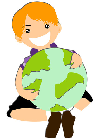 Boy Hugging Earth Vector