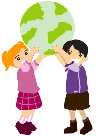 earth in hand: Ni�os sosteniendo la Tierra Vectores