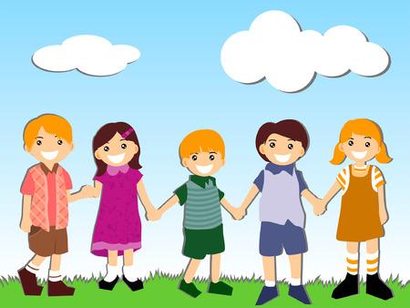 girls holding hands: Illustration of Children holding hands outdoors Illustration