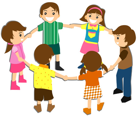 girotondo bambini: Illustrazione dei bambini in circolo