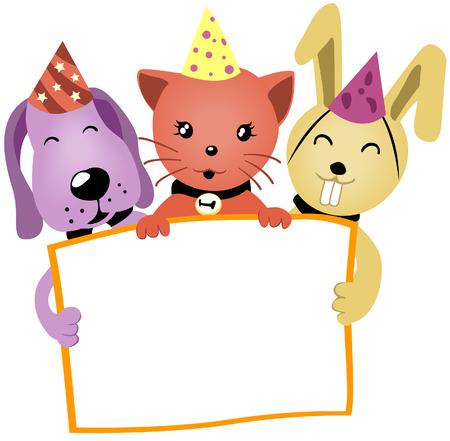 headwear: Birthday Animals holding a blank board