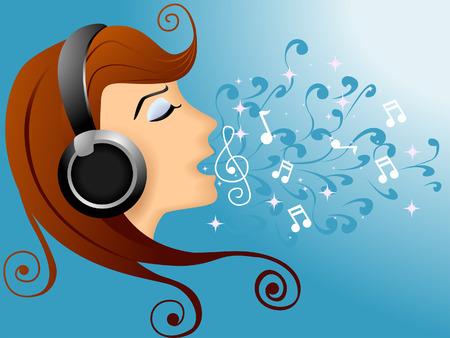 Illustration of a Girl Singing Illustration