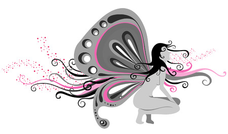 Woman with Butterfly Wings  Vector