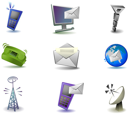 Communication Icons with Clipping Path Vector