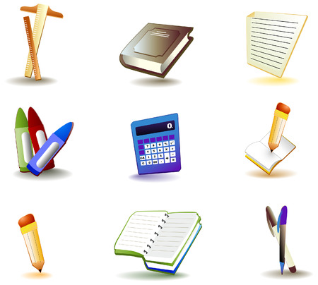 Education Icons with Clipping Path Vector
