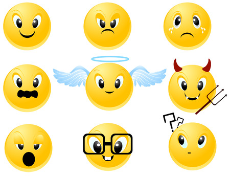 teufel und engel: Smileys Icon mit Clipping-Pfad  Illustration